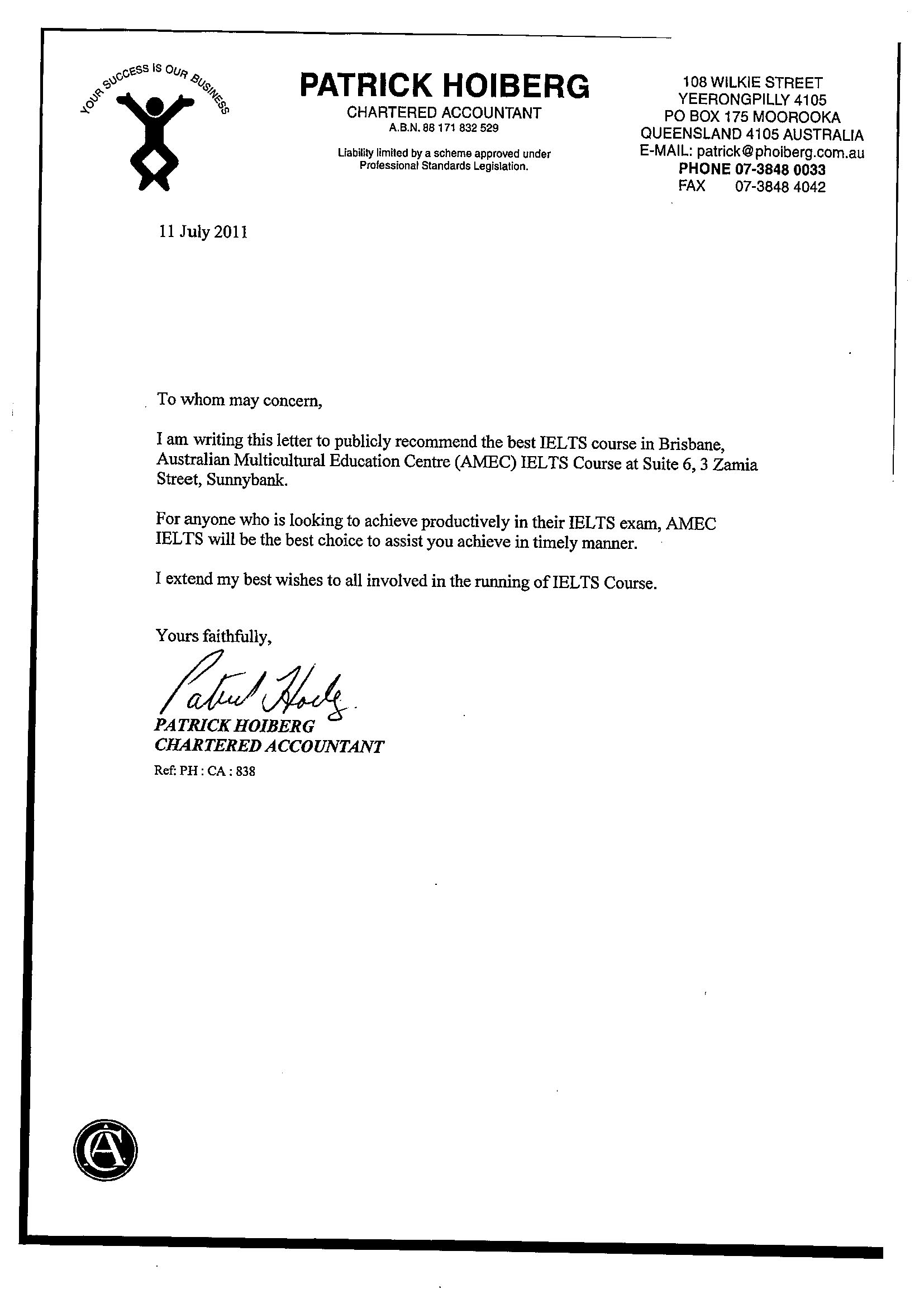 Letter from Patric Hoiberg to amec